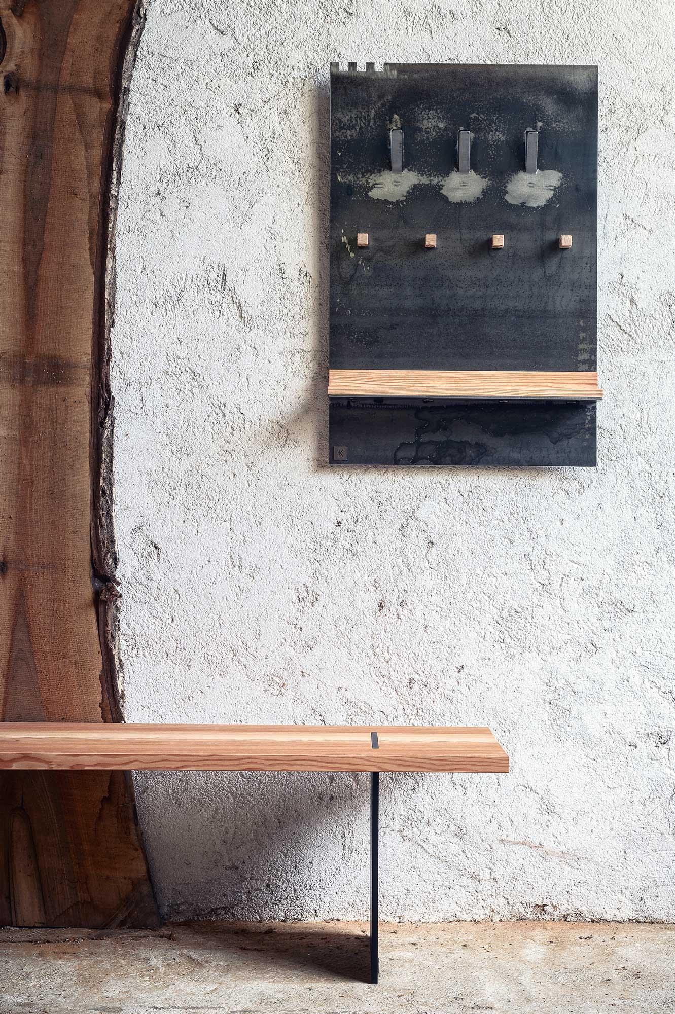 banch panca moderna in legno e ferro 3